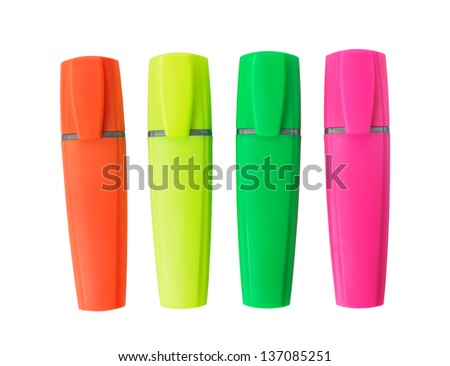 Four Highlighter Markers Pens Isolated on White Background - stock photo