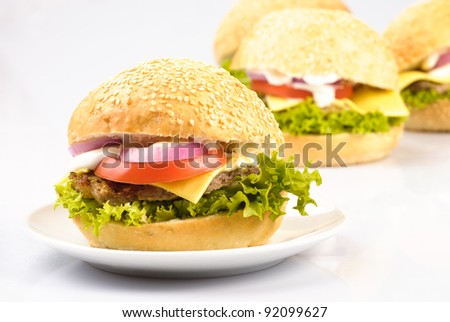 four homemade hamburgers isolated on white background - stock photo