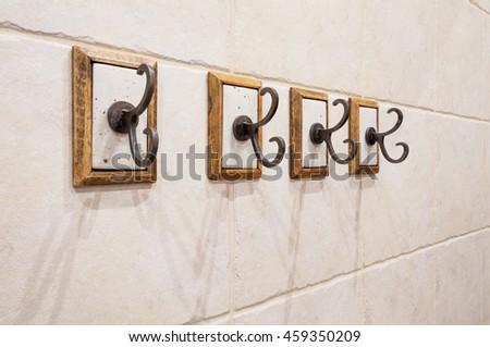 Four Hooks On Bathroom Wall