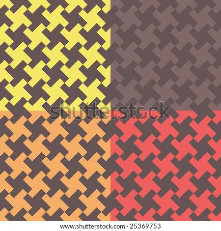 Four houndstooth-like geometric pattern swatches - stock photo