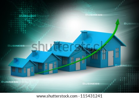 Four houses. every house is greater than the previous - stock photo