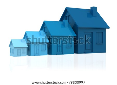 four houses. every house is greater than the previous and has a darker colour (3d render) - stock photo