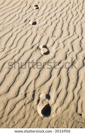 Four human footprints in rippled sand, all heading toward you - stock photo