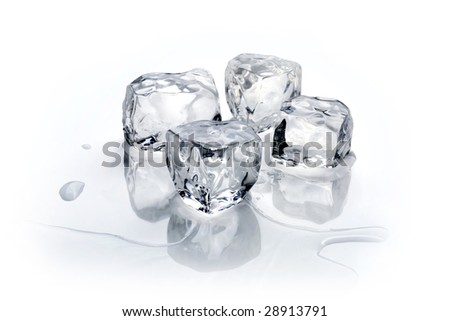 Four ice cubes on a white background