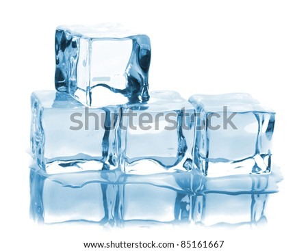 Four ice cubes with reflection isolated on white background - stock photo