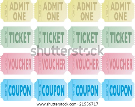 Four illustrations of a strips of tickets in different colors