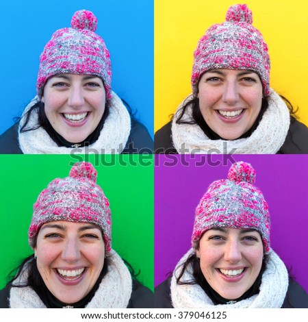 Four images of a smiling woman wearing a woolen hat standing against different color backgrounds - stock photo