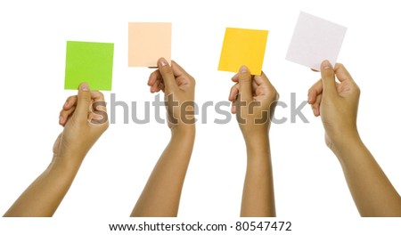 Four images of hands holding blank color cards isolated over white background. You can put your text on the cards