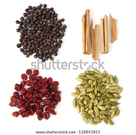 Four ingredients for making a perfect gin tonic: juniper berries, cinnamon, cardamom and dry red cranberry. - stock photo