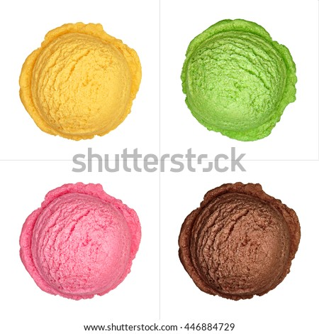 Four isolated ice cream scoops from top on white background