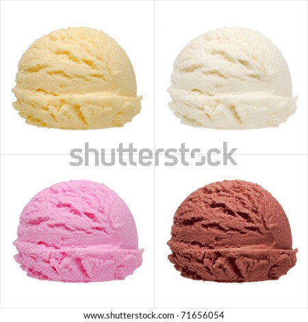 Four isolated scoops of ice cream from side