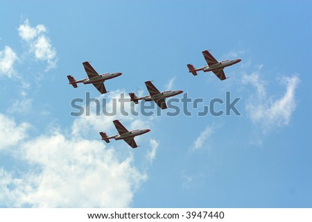 four jet during performing acrobatics - stock photo