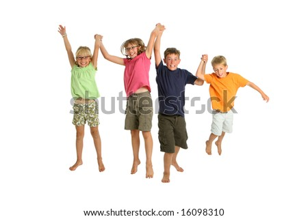 Four kids jumping on white background - stock photo