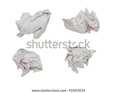 four kind of paper balls, isolated with clipping path - stock photo
