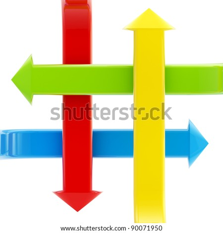 Four kinds of bright glossy arrows crossed and pointing to the different directions isolated on white
