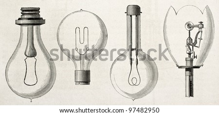 Four kinds of lamp in the Electricity Exposition of 1882 (Paris): Edison, Maxim, Swan, Werdermann. By unidentified author, published on Magasin Pittoresque, Paris, 1882 - stock photo