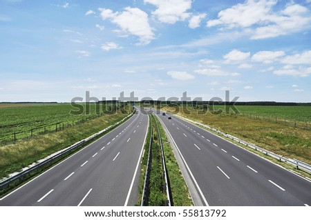 Four-lane motorway leads across the country at Lake Balaton - stock photo