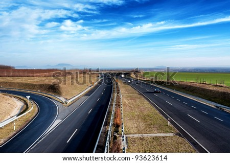 Four-lane motorway leads across the country at Lake Balaton,Hungary - stock photo