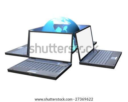 Four laptops - stock photo