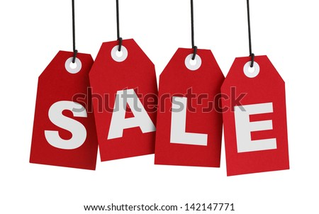 Four Large Red Tags with the Word Sale Isolated on White Background. - stock photo