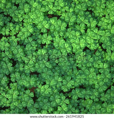 Four-leaf clover field for background, top view. 3d illustration high resolution - stock photo