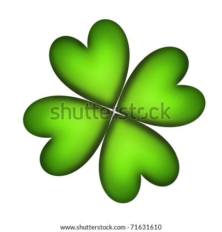 Four Leaf Clover for good luck over white background - stock photo
