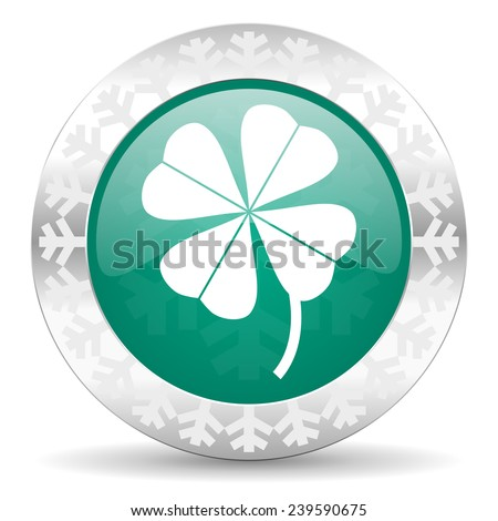 four-leaf clover green icon, christmas button