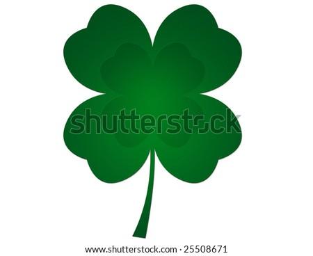 Four leaf clover illustration - stock photo