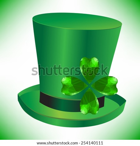 Four- leaf clover - Irish shamrock St Patrick's Day symbol. Useful for your design. Green glass clover  on green hut. St. Patrick's day green hat isolated on white background. - stock photo