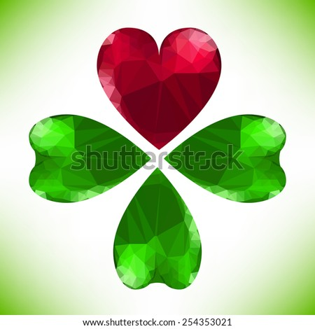 Four- leaf clover - Irish shamrock St Patrick's Day symbol. Useful for your design. Green glass clover  and red heart. St. Patrick's day green leaf isolated on white background.  - stock photo