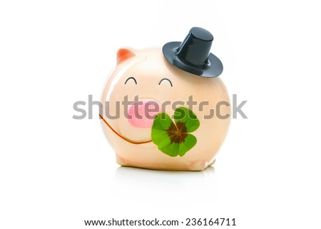 Four-leafed clover and piggybank isolated on white - stock photo