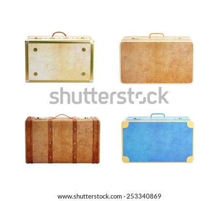 four leather suitcase isolated on white background - stock photo