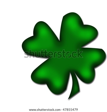 four-leaved clover isolated on white - stock photo