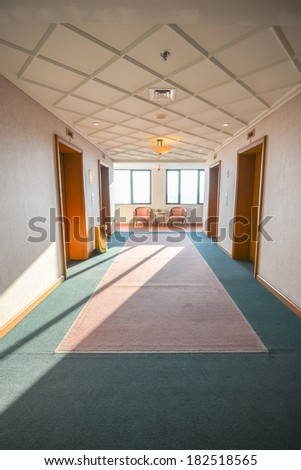 four lifts in a hotel lobby - stock photo