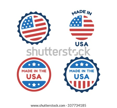 Four Made in USA labels in colors of american flag isolated on white background. - stock photo