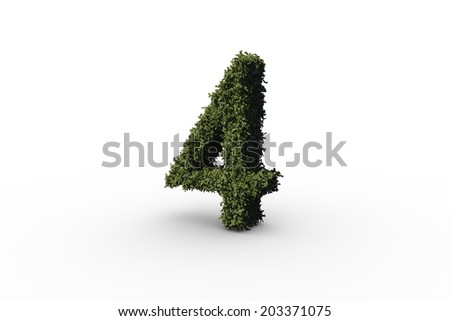 Four made of leaves on white background - stock photo