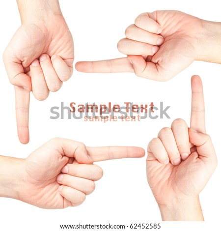 Four male hands forming a border with copy-space - stock photo
