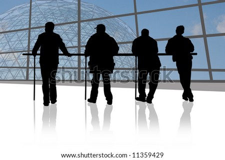 Four men are waiting on airport - stock photo