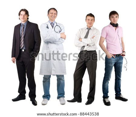 Four men of different professions, businessman, doctor and dj. Isolated on white background - stock photo
