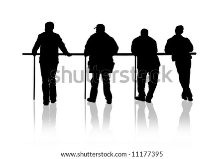 Four men on white background - stock photo
