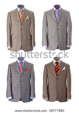 Four men's jackets on a white background. Look for more in MY PORTFOLIO - stock photo