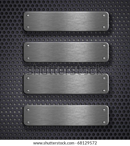 four metal plates over grid background - stock photo