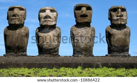 Four Moais on Easter Island (Ahu Tongariki) - stock photo