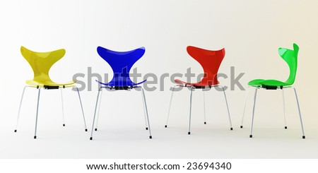 Four modern chairs - stock photo