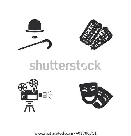 four modern cinema icons - stock photo