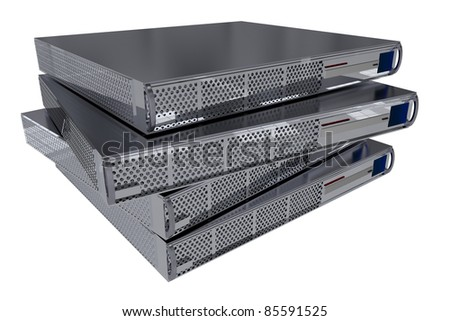 Four Modern Server Computers Isolated on White. - stock photo
