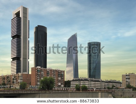 four modern skyscrapers (Cuatro Torres) Madrid, Spain - stock photo