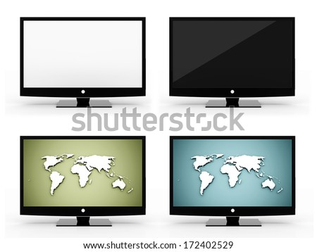 Four monitors set rendered isolated on white background - stock photo