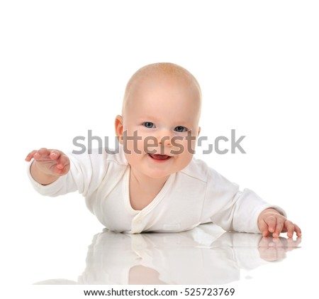 Four month Infant child baby girl in diaper lying happy smiling isolated on a white background