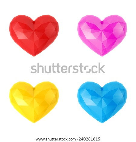 Four multi-colored faceted hearts - stock photo